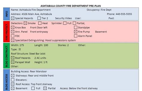 fire department pre plan form  word