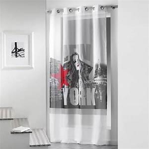 Rideau Voilage Rouge : rideau voilage diva 140x260cm blanc rouge ~ Teatrodelosmanantiales.com Idées de Décoration