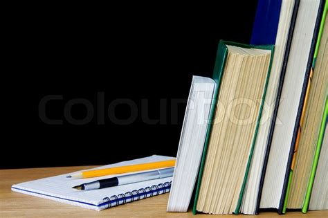 pencil  notebook  books stock photo