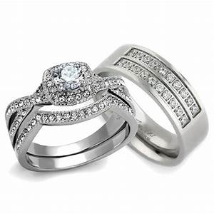 st2296 rtm3644 silver stainless steel titanium his her With silver wedding ring sets for his and her