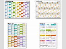 Kalender 2018 mit ExcelPDFWordVorlagen, Feiertagen