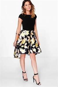 boutique dory floral sateen dip hem skater dress at boohoocom With robe patineuse fleurie