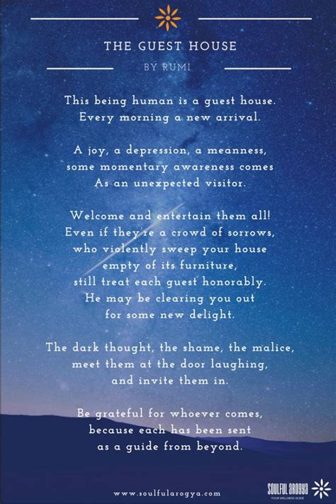 Rumi Poetry by The Guest House A Poem By Rumi