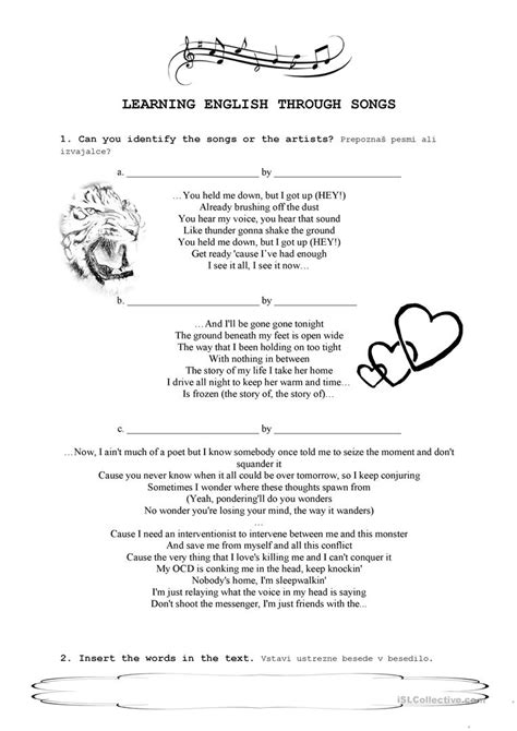 learning english through songs worksheet free esl printable worksheets made by teachers