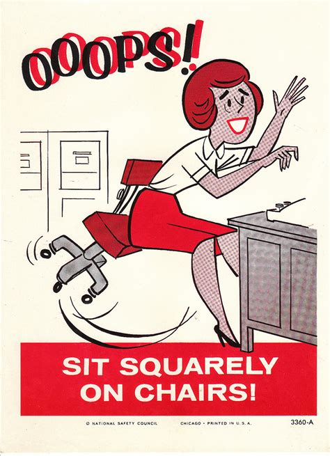 vintage national safety poster sit squarely on chair