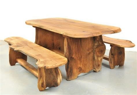 rustic solid wood garden tables  benches  slabs