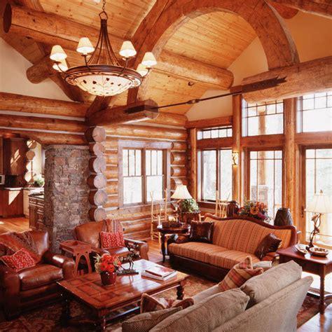 Granite Ridge Log Cabin Great Room 2  Teton Heritage Builders