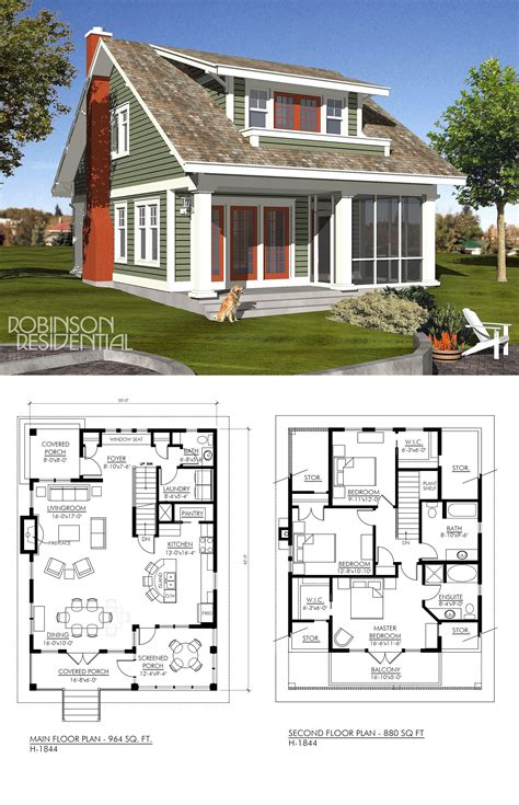Craftsman H 1844 Cottage floor plans Small lake houses