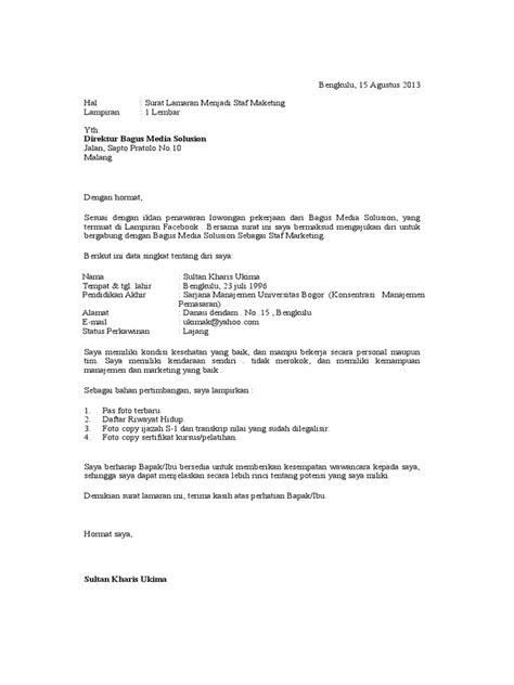 application letter berdasarkan iklan