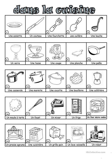 liste d ustensiles de cuisine dans la cuisine fiche d 39 exercices fiches pédagogiques