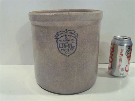 Old antique acorn wares uhl pottery co. crock huntingburg