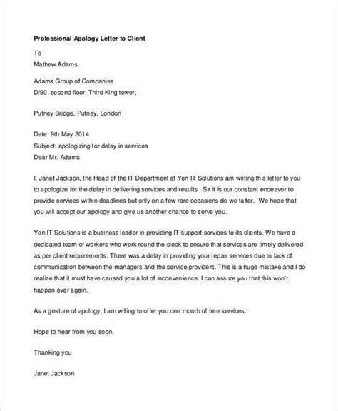 professional apology letter   word  format
