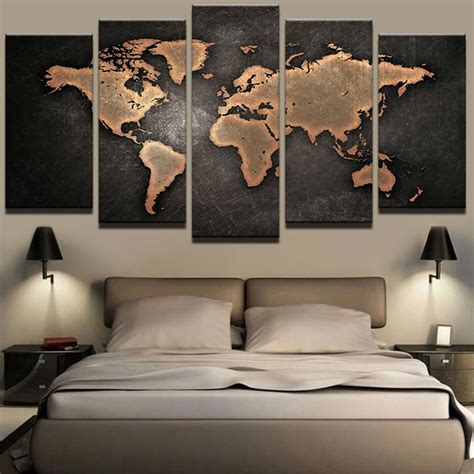 panels world map framed poster print canvas art multi piece