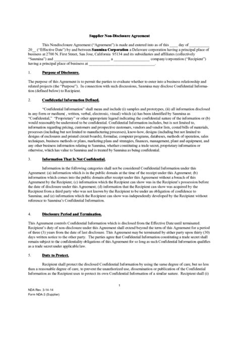 supplier  disclosure agreement template printable