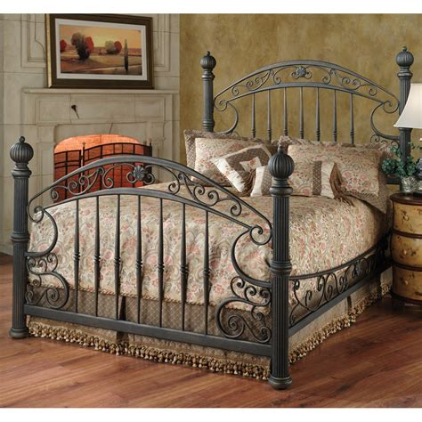 chesapeake iron bed in rustic brown humble abode