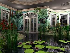 The greenhouse Abstract cattails Door flowers Green indoor ...