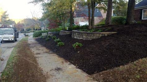 landscaping a sloped front yard charlotte sloping front yard landscape charlotte by secureturf charlotte landscaping