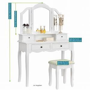 Schminktisch Selber Bauen : schminktisch fiona wei mit spiegel und hocker juskys ~ Watch28wear.com Haus und Dekorationen