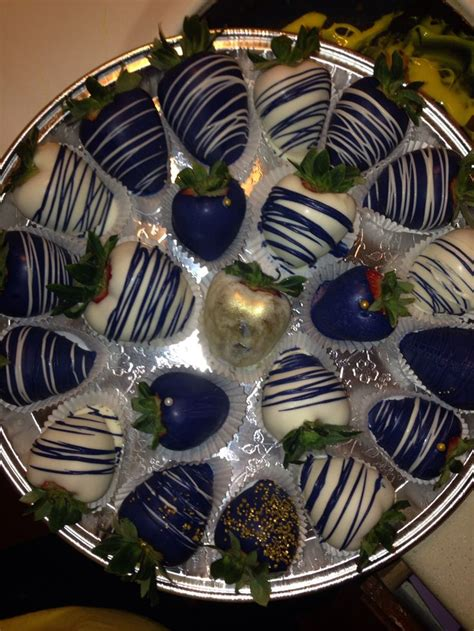 gold white navy blue chocolate covered strawberries