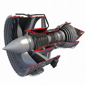 3d Model Jet Turbofan Engine Cutaway