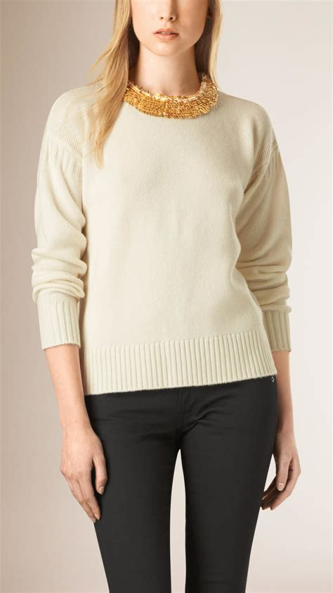 burberry sweater lyst burberry sequin detail wool crew neck