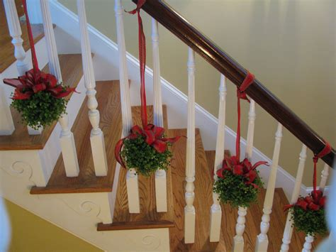 banister decor topiaries on the stairs