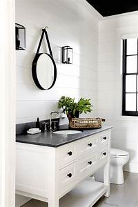 best 25 black white bathrooms ideas on pinterest white With kitchen cabinets lowes with black and white bathroom wall art