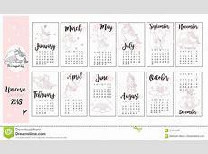 Cute Unicorn Calendar Background In Vector Stock Vector