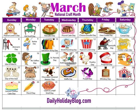 National Holiday Calendar March