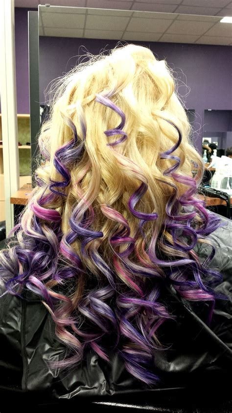 Pink And Purple All Over Highlights I Did In School I Do Hair Hair Styles All Over