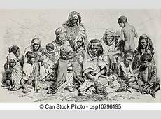 Algeria famine Antique illustration of poor and needy