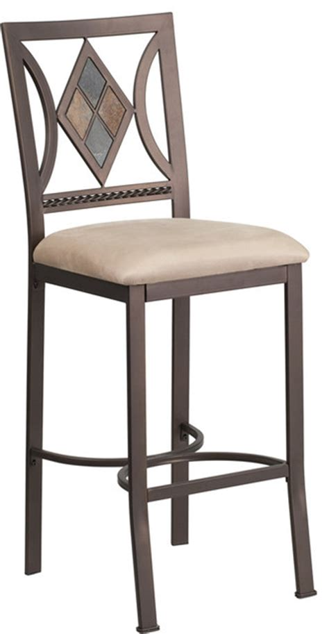 Microfiber Bar Stool - 29 quot brown metal bar stool with beige microfiber seat