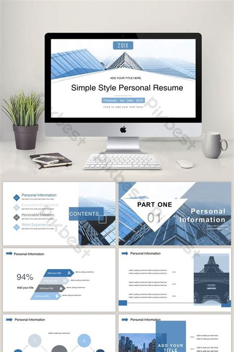 Resume Ppt by Blue Minimalist Style Resume Ppt Template Powerpoint