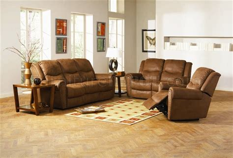 Brown Leather Reclining Sofa And Loveseat by Brown Leather Style Fabric Classic Reclining Sofa