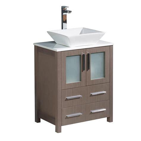 Bath Vanities With Tops by Fresca Torino 24 In Bath Vanity In Gray Oak With Glass
