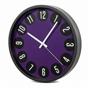 Horloge Murale Moderne : horloge murale moderne silencieuse 14 34cm noir violet ce ce50b violet noir ebay ~ Teatrodelosmanantiales.com Idées de Décoration