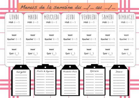 cours de cuisine hebdomadaire planning repas de semaine à imprimer vierge menus de la