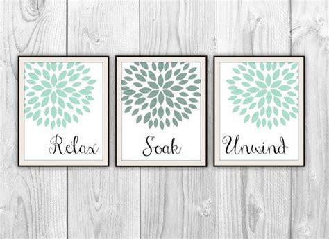 relax soak unwind bathroom trio set   art prints