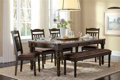 country style espresso dining table chairs bench dining