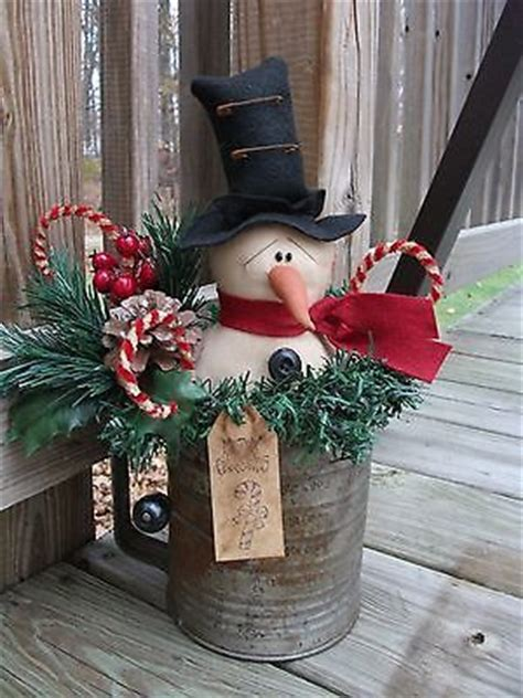 Folk Primitive Christmas Winter Snowman Doll Old Rusty