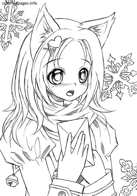 anime cat girl coloring pages  cat coloring pages