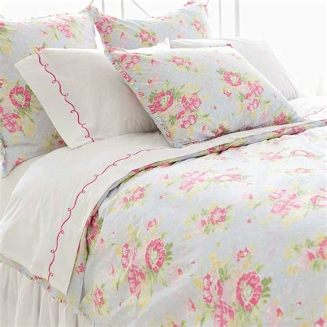 pretty pink and pastel blue floral bedding decor and