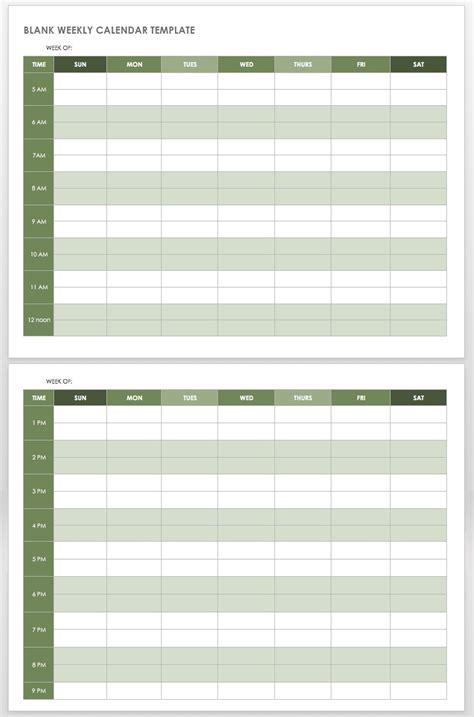 weekly calendar templates smartsheet