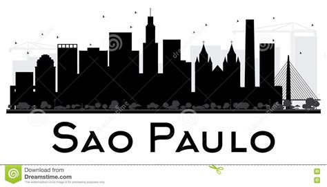 silhueta preto  branco da skyline de paulo city  sao