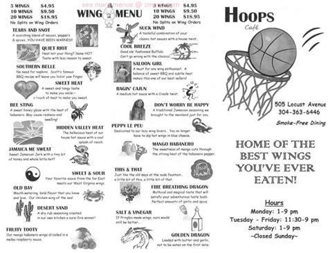 menu  hoops cafe restaurant fairmont west