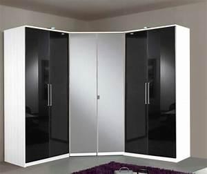 Placard D Angle : armoire d 39 angle 2 portes gamma blanc noir ~ Teatrodelosmanantiales.com Idées de Décoration