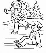 Coloring Ice Skating Pages Sheets Kitty Hello Winter Colouring Craft sketch template