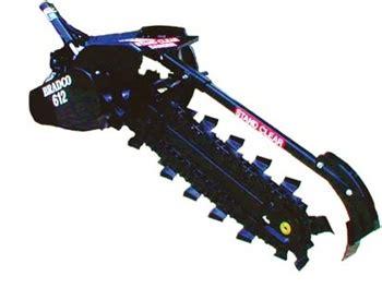bradco  hydrostatic tractor pto driven  point hitch trencher model   agressive