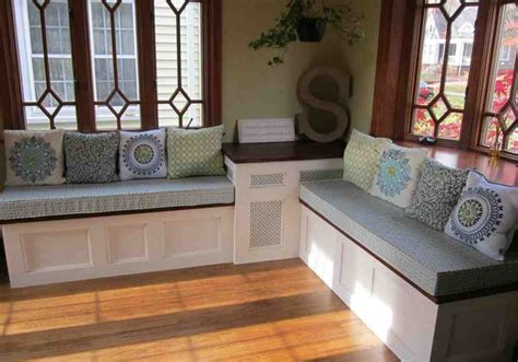 A bench built into a bay window will typically have an angled shape that doesn't allow for a full width of standard rectangular kitchen windows: Corner Bench Seat with Storage - Home Furniture Design