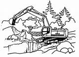 Coloring Excavator Pages Construction Drawing Tractor Backhoe Vehicles Cards Signs Printable Boys Truck Rugrats Dump Fire Machine Colouring Working Machines sketch template